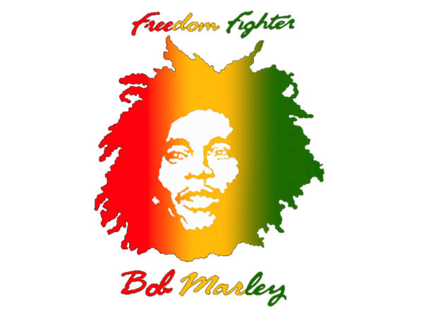 Bob Marley Freedom Fighter Tshirt Blanc à Manches Courtes pour Homme