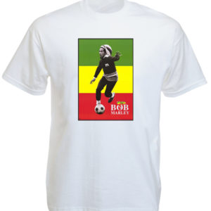 T-Shirt Blanc à Manches Courtes Photo de Bob Marley Driblant au Foot
