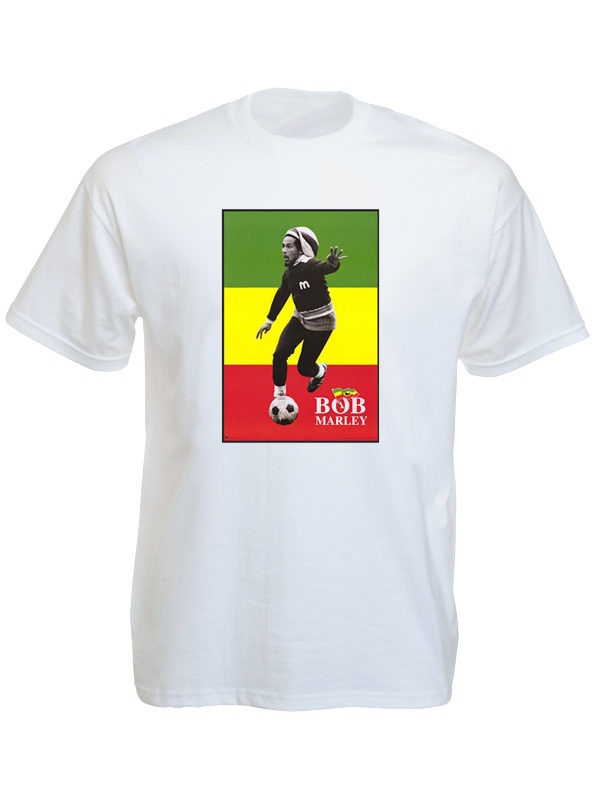 T-Shirt Blanc à Manches Courtes Photo de Bob Marley Driblant au Foot