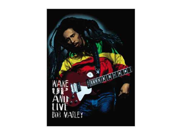 Bob Marley Tee Shirt Blanc Manches Courtes Wake Up and Live