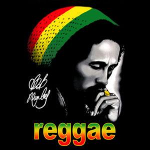 Tshirt Noir Bob Marley Reggae Rasta Beanie