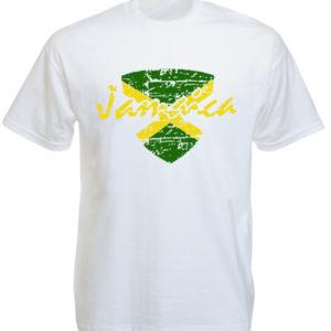 Tshirt Blanc Drapeau Jamaica Vert Jaune Noir
