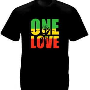 Tshirt Noir One Love Black Power Fist