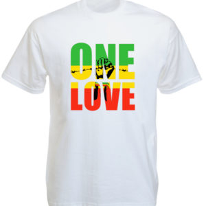 Tshirt Blanc One Love Black Power Fist