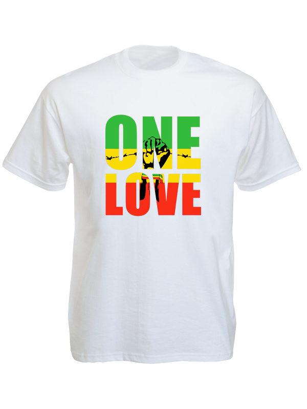 Tshirt Blanc One Love Black Power Fist