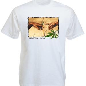 Chanvre Tshirt Blanc Artistique Michel Ange Création d'Adam
