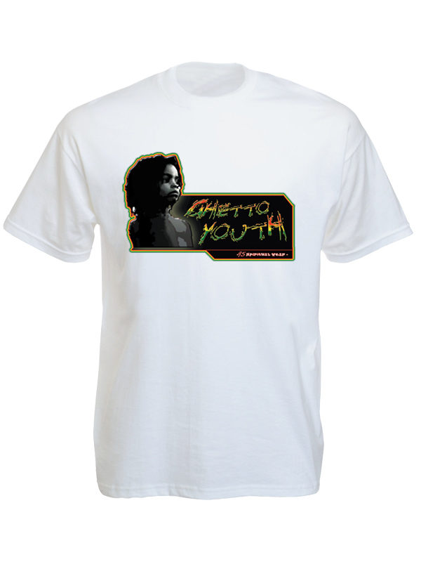 Guetto Youth Tee Shirt Blanc pour Rasta à Manches Courtes