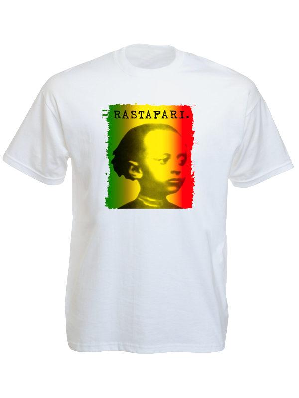 Hailé Sélassié Tshirt Blanc Rastafari Vert Jaune Rouge en Coton