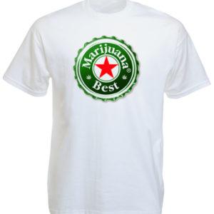 Humour Tee Shirt Blanc à Manches Courtes Logo Bière Heineken Parodié