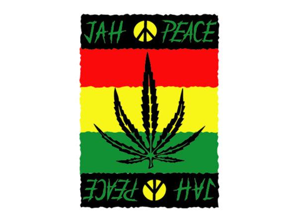 Jah Peace Tee Shirt Blanc Coton Feuille de Ganja Manches Courtes