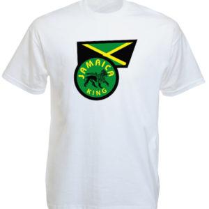T-Shirt Blanc Manches Courtes en Coton aux Couleurs de la Jamaïque