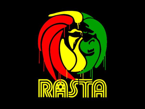 Lion de la Tribu de Juda Tshirt Noir en Coton Style Rastafari
