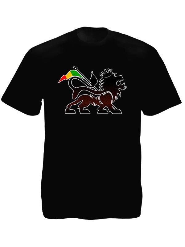 T-Shirt Noir pour Homme en Coton Imprimé du Lion de la Tribu de Juda