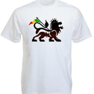 T-Shirt Blanc Manches Courtes en Coton avec le Lion Conquérant Rasta