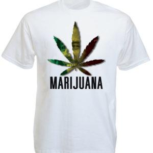 Marijuana Tee Shirt de Couleur Blanche pour Homme avec Bob Marley