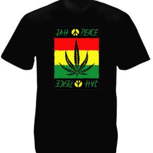 Peace and Love Tshirt Noir Homme Jah Rastafari
