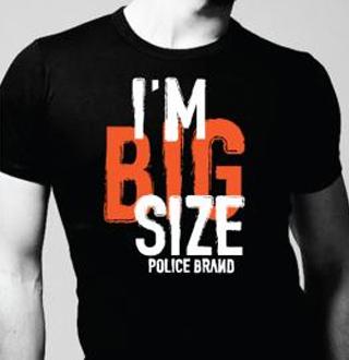 Police T-Shirt Noir Uni Modèle Homme Classique en Coton
