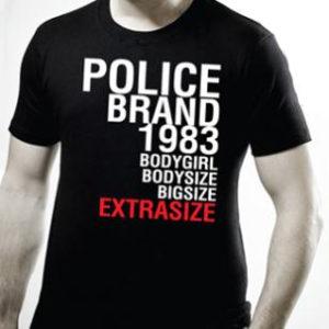 Police Tee Shirt Homme Noir Uni Urban Fashion 100% Coton
