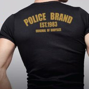 Police Tee Shirt Noir Body Hommes à Manches Courtes