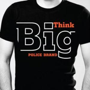 Police Tee-Shirt Noir Eté pour Homme Coton Biologique Think Big
