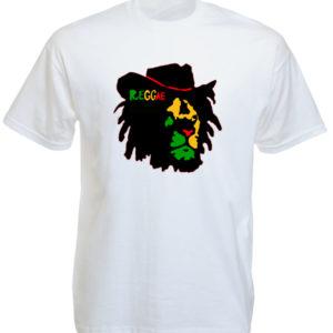 Reggae Tshirt Blanc Homme Col Rond Lion de Juda