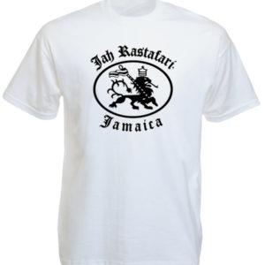 T-Shirt Blanc en Coton Jah Rastafari Hailé Sélassié
