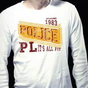 T-Shirt Blanc Marque Police 1983 Homme à Manches Longues