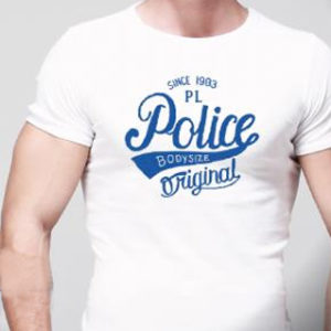 T-Shirt Blanc Police Imprimé Style Rétro Vintage Manches Courtes
