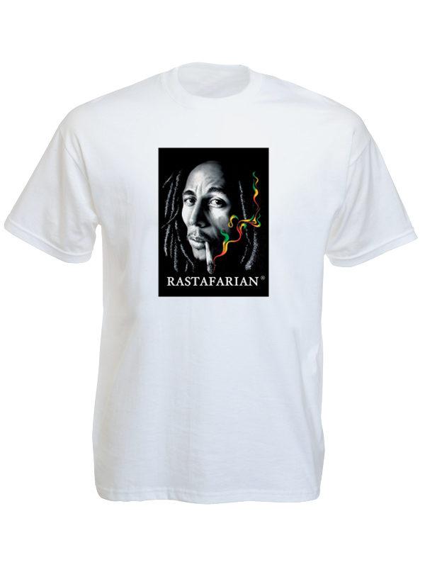 T-Shirt Blanc Bob Marley Rastafarian Manches Courtes
