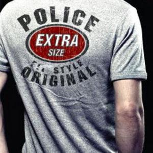 T-Shirt Marque Police Gris Chiné à Manches Courtes Homme