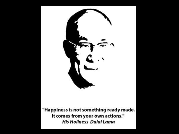 T-Shirt Noir en Coton pour Homme Photo du Dalaï-lama