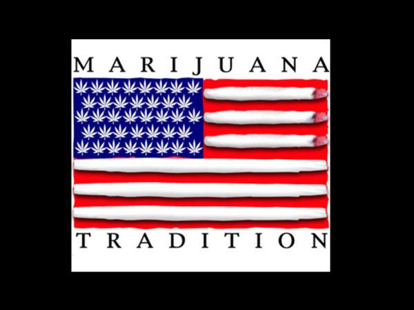 Tee Shirt Noir pour Homme Drapeau USA Humour Cannabis
