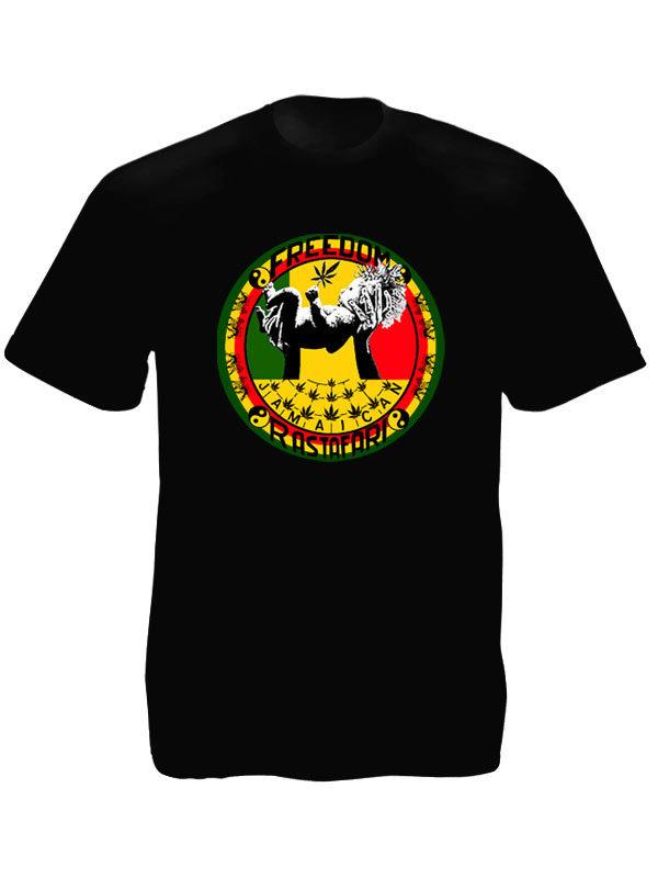 Tshirt Noir Jamaïcain Rastafari pour la Paix Manches Courtes