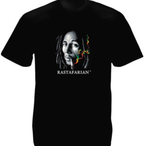 T-Shirt Noir Manches Courtes Rasta Photo Bob Marley Fumant un Joint