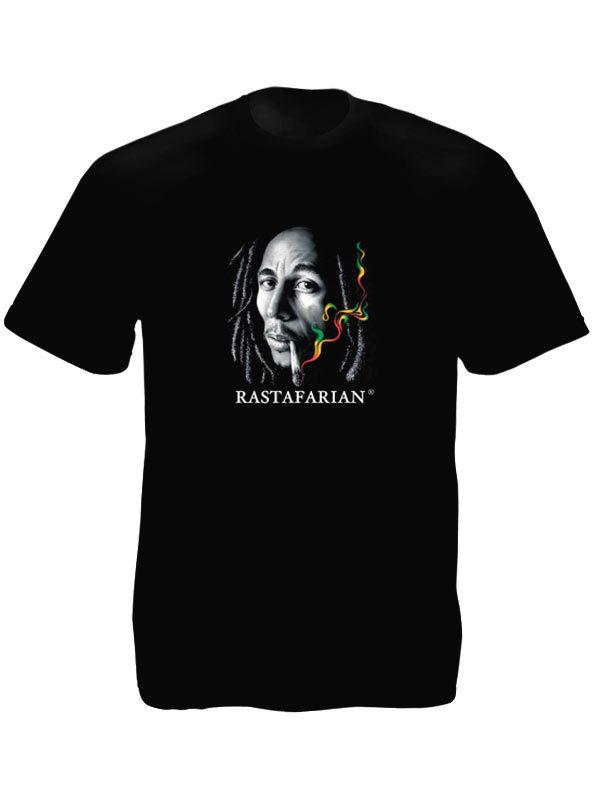 T-Shirt Noir Manches Courtes Rasta Photo Bob Marley Fumant un Joint