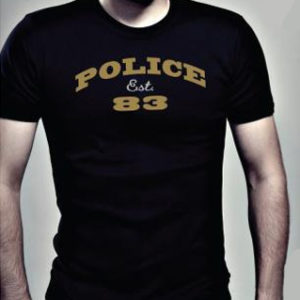 T-Shirt Noir Police 83 Collection Bodysize Large Manches Courtes