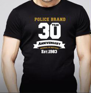 T-Shirt Noir Police 30th Anniversary Extrasize Homme Manches Courtes