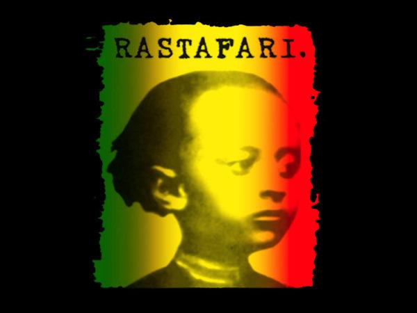 Tee Shirt Noir Rasta Coton Homme Portrait Empereur Hailé Sélassié Enfant