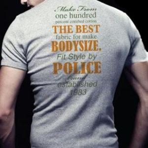 T-Shirt Police Gris Coupe Slim Hommes Musclés à Manches Courtes