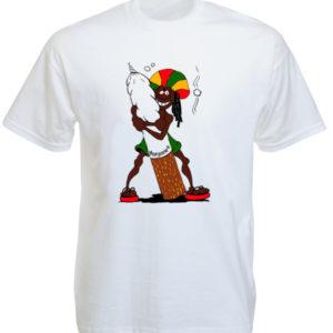 T-Shirt Blanc Imprimé Drôle Rasta agrippé à un Joint de Marijuana