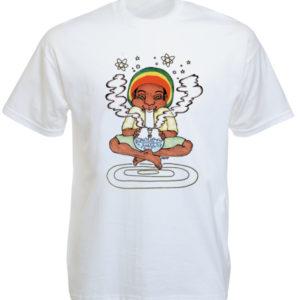 T-Shirt Blanc Imprimé Rasta Fume du Cannabis à la Pipe à Eau