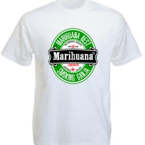 T-Shirt Blanc Logo Heineken Détourné en Pub pour le Cannabis
