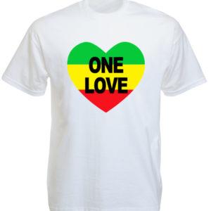 T-Shirt Blanc Manches Courtes One Love avec un Cœur Rasta