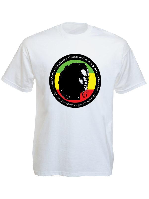 T-Shirt Blanc Manches Courtes Rasta pour la Paix dans le Monde