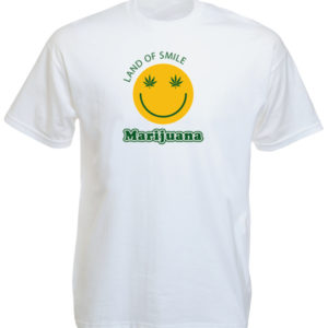 T-Shirt Blanc Manches Courtes Smiley Land of Smile Marijuana