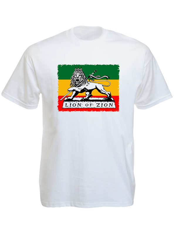 T-Shirt Blanc Manches Courtes Style Rasta Lion Of Zion