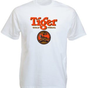 T-Shirt Blanc Manches Courtes Tiger Beer pour Homme