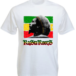 T-Shirt Bob Marley Blanc avec Inscription Rasta Roots