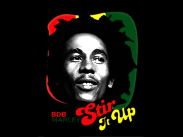 T-Shirt Bob Marley Noir en Coton pour Homme Stir It Up