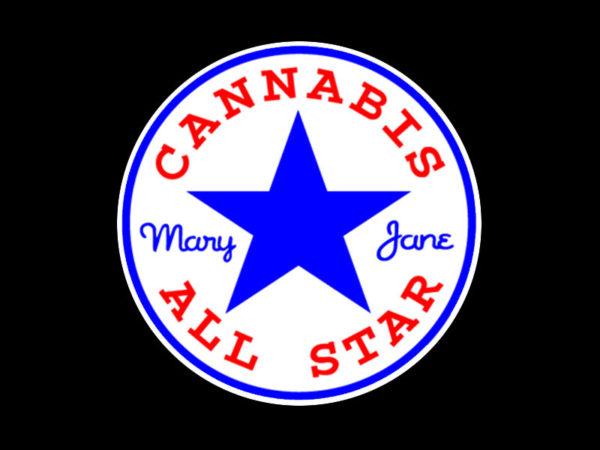 T-Shirt Noir Cannabis All Star Humoristique pour Homme